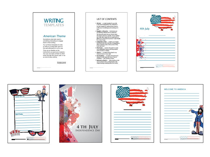 American Theme writing templates