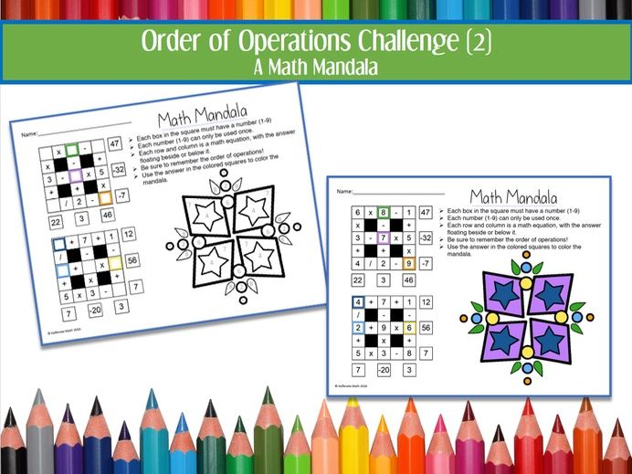 Order of Operations Challenge--Math Mandala (2)