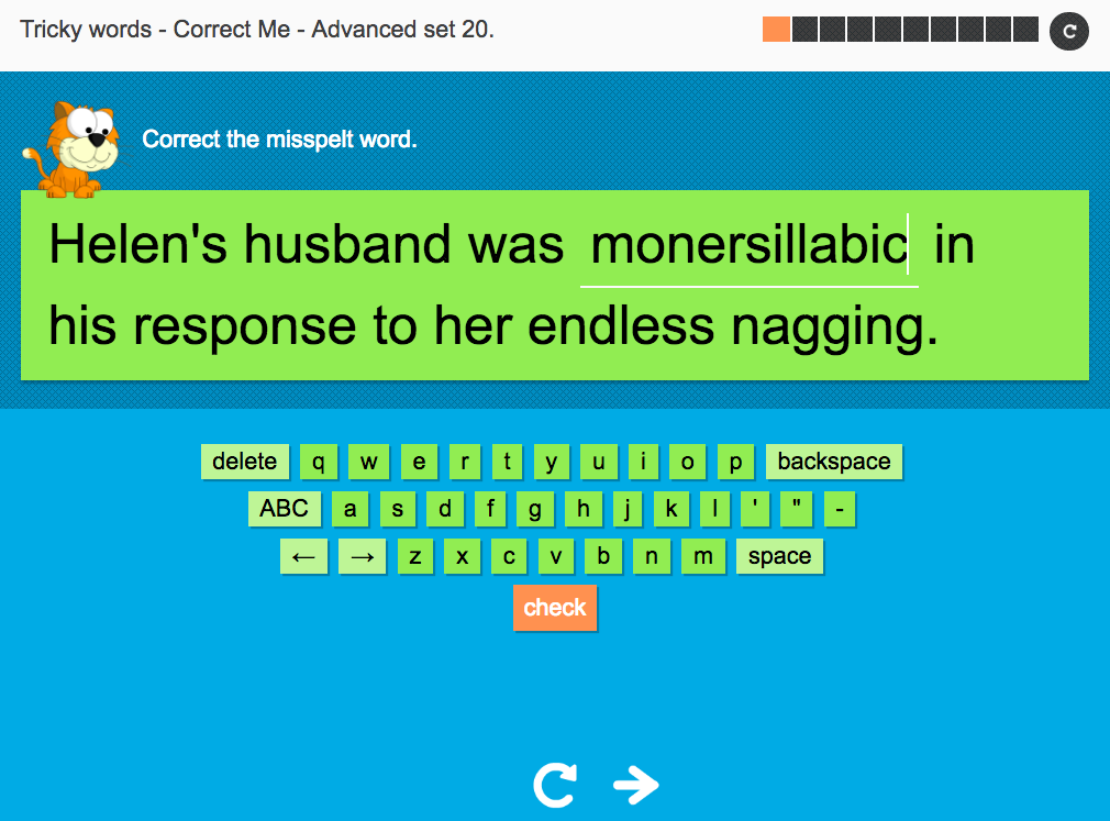 Tricky Words Spelling Interactive Exercise 20 - Advanced Level - KS3 Spag