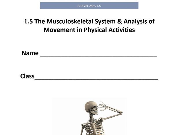 New AQA A Level PE. 1.5 The Musculoskeletal System & Analysis of Movement. Pupil Workbook.