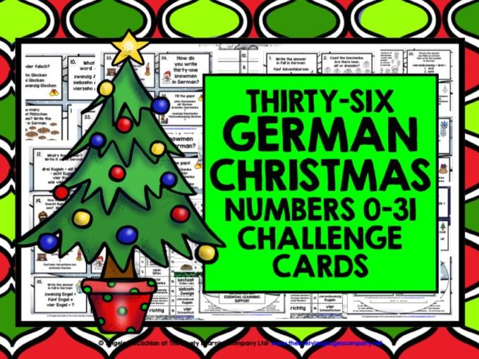 CHRISTMAS: GERMAN NUMBERS 0-31 CHRISTMAS CHALLENGE CARDS