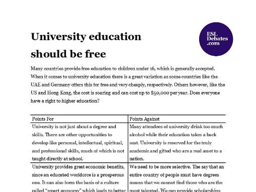 Debate Lesson Plan - University education should be free
