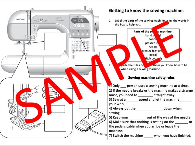 Getting to know the sewing machine (differentiated worksheets with answer slide)