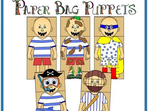 No David Paper Bag Puppets