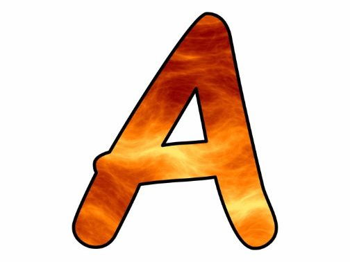Printable display bulletin letters numbers and more: Orange Fire