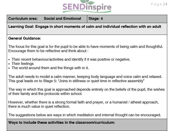 SEND Pupil engages in moments of calm and individual reflection with an adult