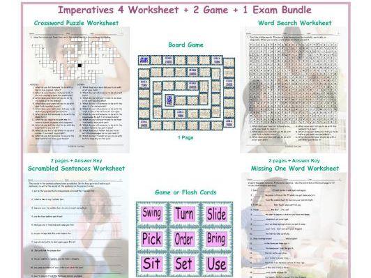 Imperatives 4 Worksheet-2 Game-1 Exam Bundle