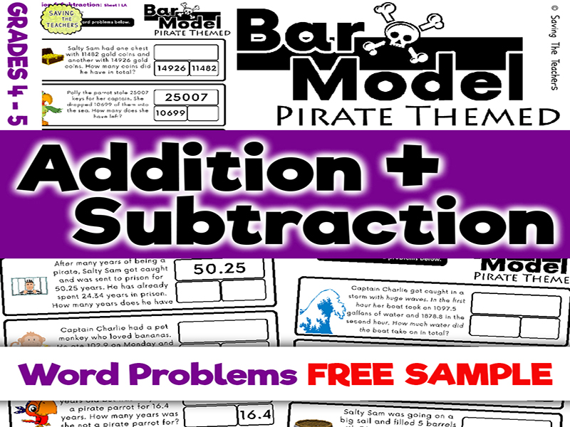 Free Sample: Pirates Addition & Subtraction Bar Model Word Problems: Years 5 and 6