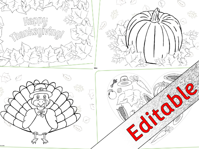 'Happy Thanksgiving!' Colouring Sheets - Editable