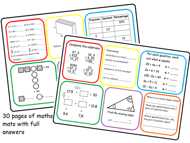 Y5/6 basic skills maths mats and answers x 30