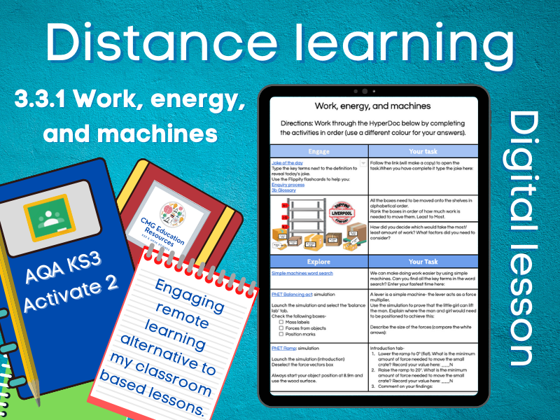 3.3.1 Work, energy, and machines: Distance learning (AQA KS3 Activate 2)