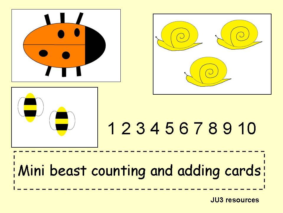 minibeast counting and adding cards collection