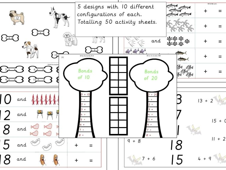 1-50 of 100 Addition within 20 Activity Sheets