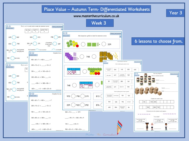 Year 3- Autumn Term- Block 1- Week 3- Place Value Differentiated Worksheets- White Rose Style