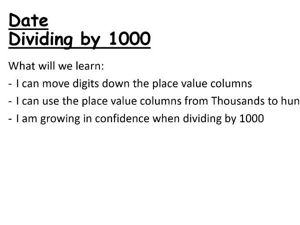 Dividing by 1000 PowerPoint Lesson