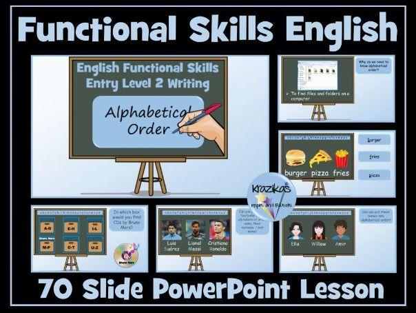 Functional Skills English - Entry Level 2 - Writing - Alphabetical Order