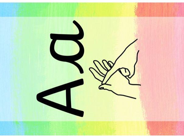 BSL Alphabet Rainbow Precursive