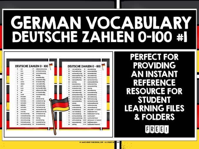 GERMAN NUMBERS 0-100 REFERENCE LIST 1