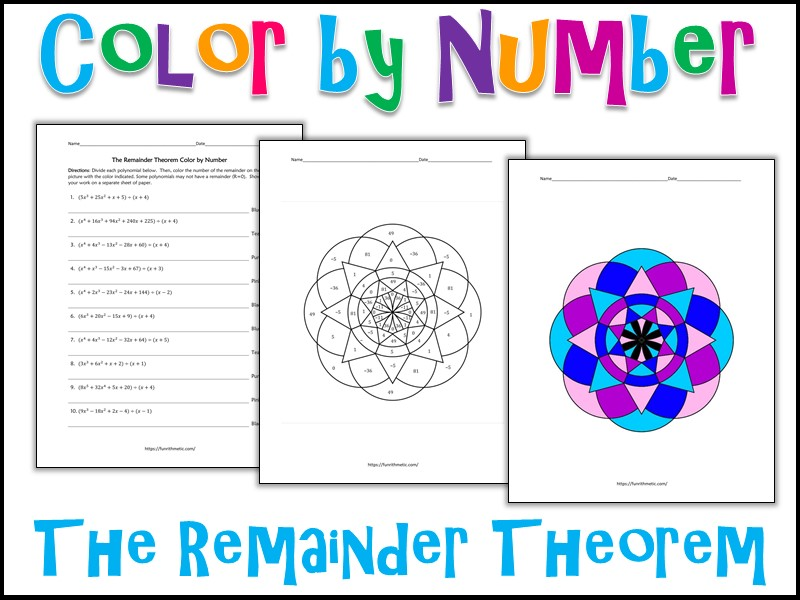 The Remainder Theorem Color by Number