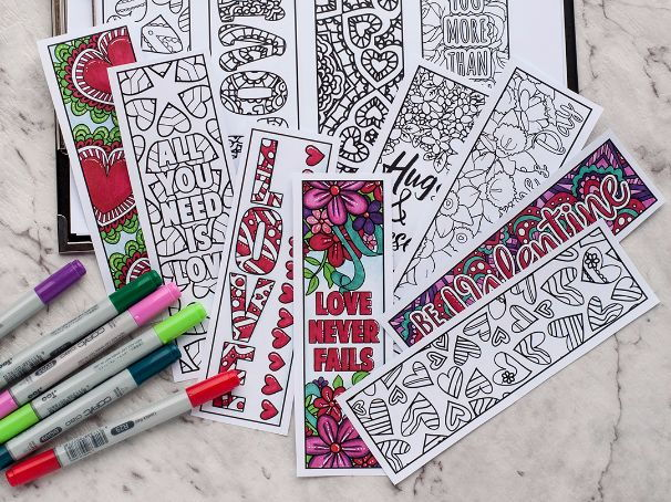 Love Coloring Bookmarks | Set of 12 Printable Bookmarks to color and make for Valentine's Day
