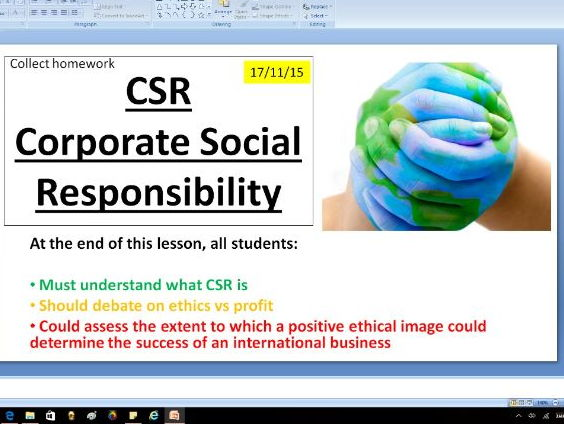 CSR Corporate social responsibility - Ethics - A level Business / Economics