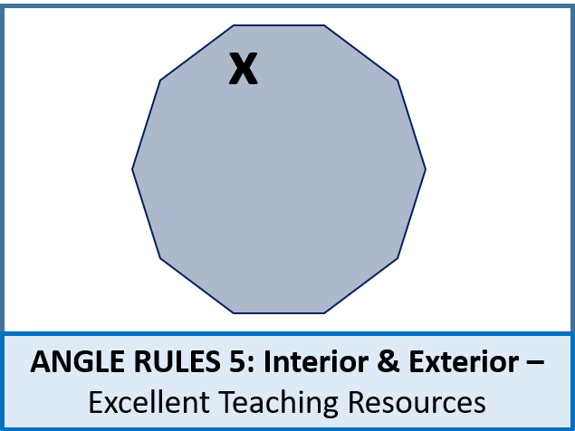 Geometry: Angle Rules 5 - Interior and Exterior Angles (regular polygons) + resources