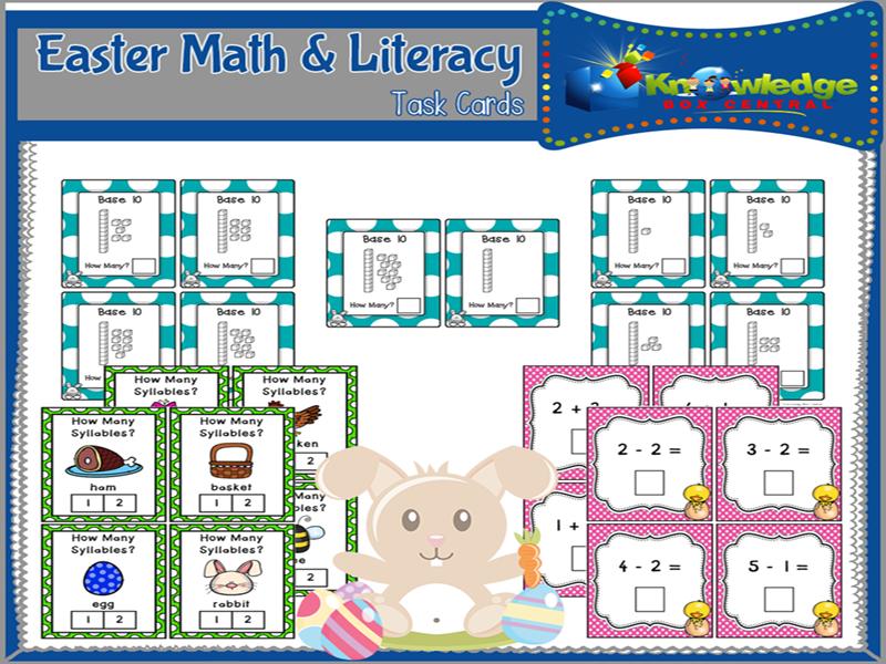 Easter Math & Literacy Task Cards for Kindergarten