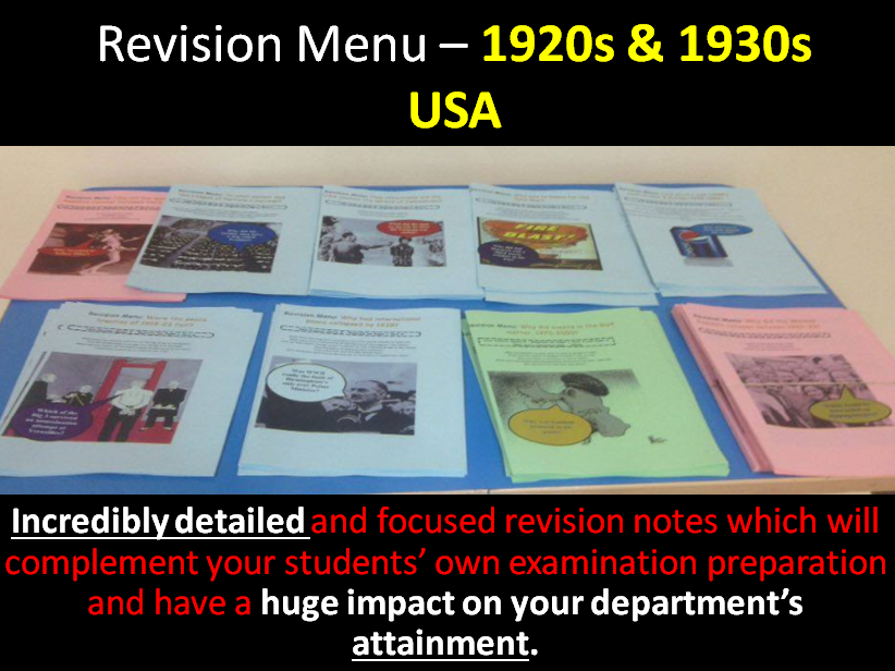 Revision Menu – USA 1917-41 – Roaring '20s and the New Deal