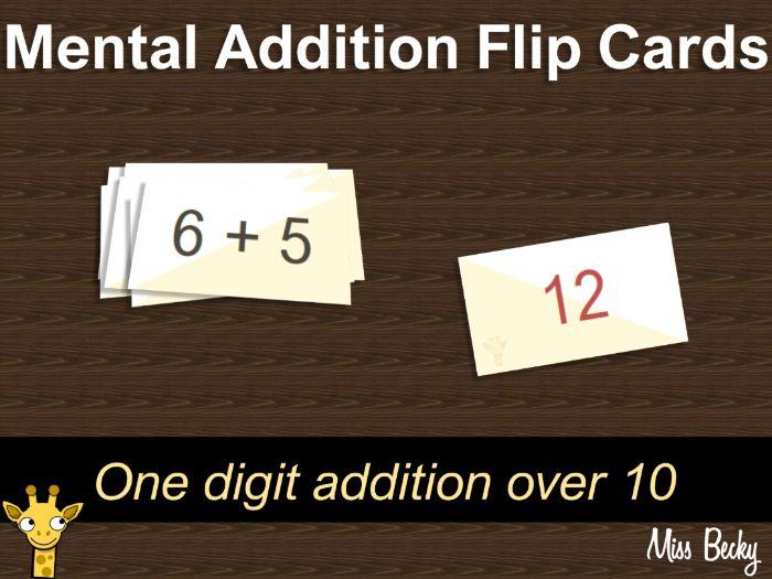 Mental addition flip cards