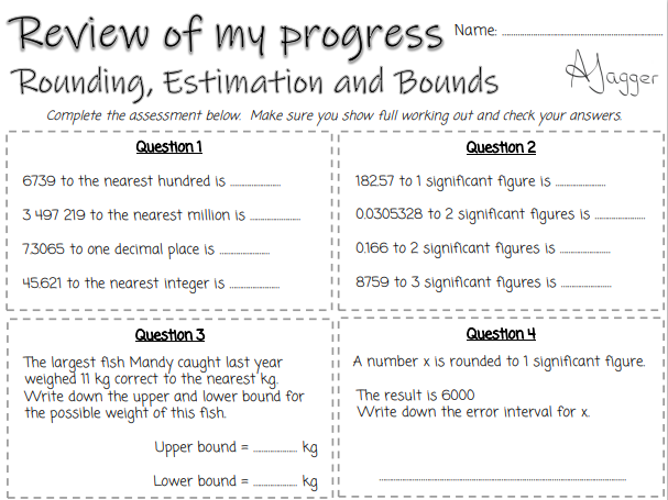 Review of my progress sheets