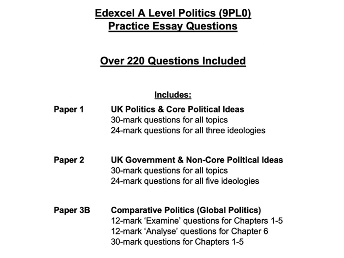 Edexcel A Level Politics Question Pack: 220+ questions for Paper 1, 2 and 3B