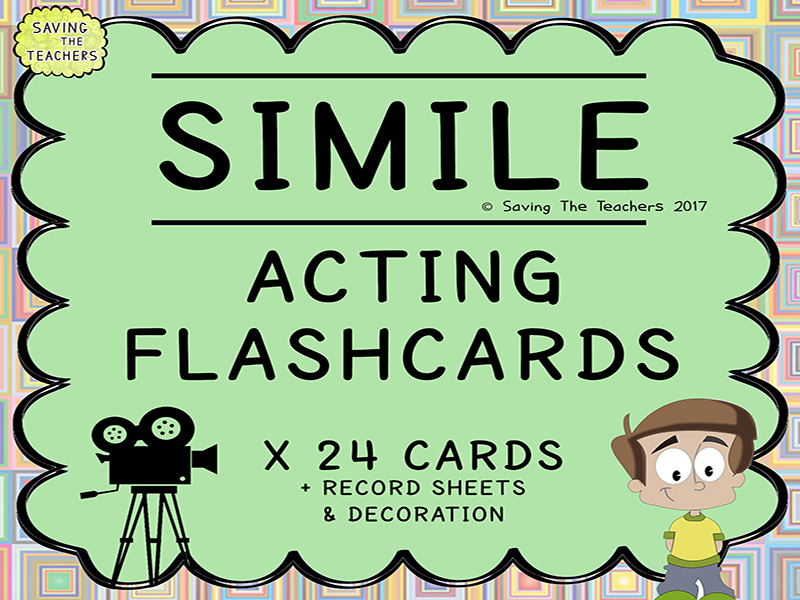 Simile Acting Game Flash Cards