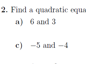 Sum and Product of Roots of Quadratic Equation worksheet  (with solutions)