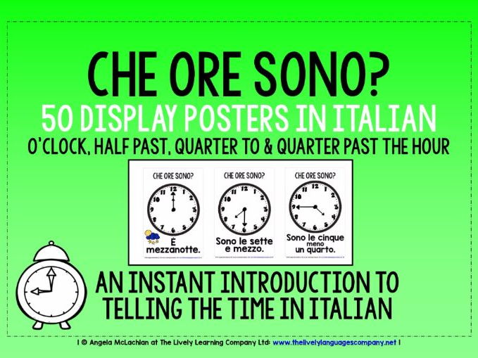 ITALIAN TELLING THE TIME - 50 DISPLAY POSTERS / FLASHCARDS (1)