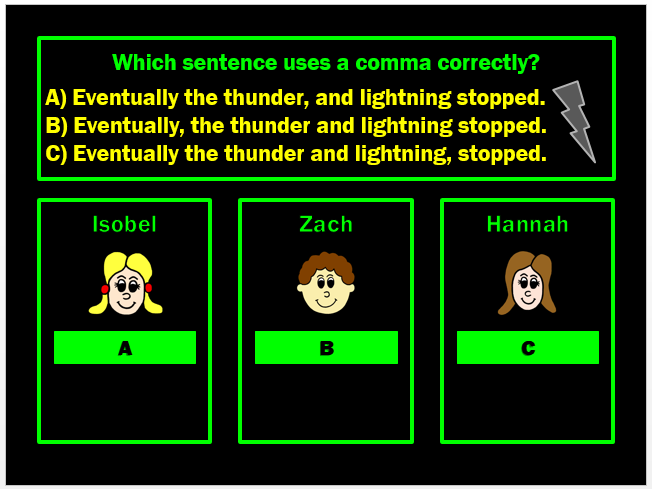 Commas Powerpoint Game by Grammatickx