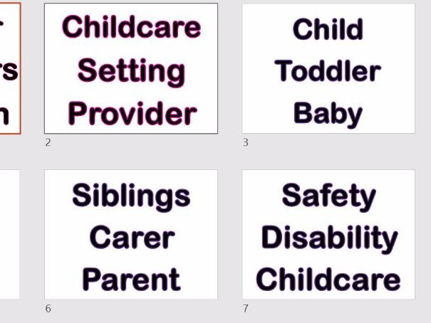 CACHE Childcare Child Development - Keywords large printable Display visual aid -literacy
