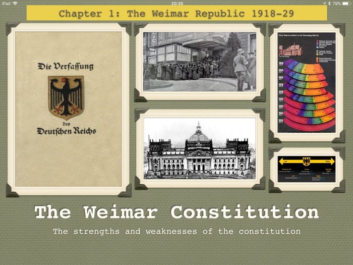 GCSE History The Weimar Republic. Unit 1. The constitution of 1919.