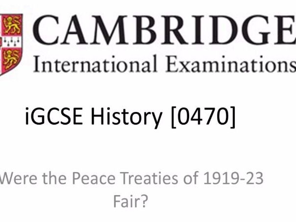 A Revision Wheel for IGCSE History Unit 'Were the Peace Treaties of 1919 to 1923 Fair?'