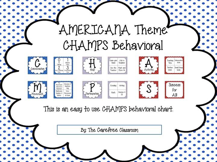 CHAMPS Behavioral Chart: Americana Theme