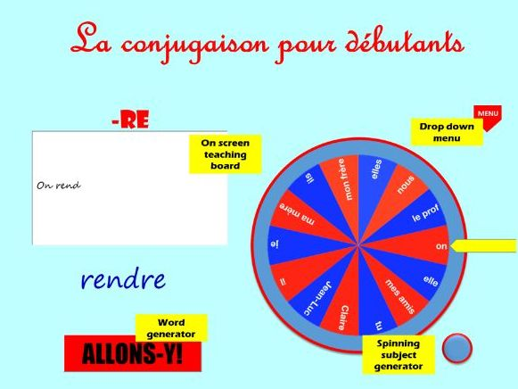 French Regular Verbs (4 types): interactive word generator.