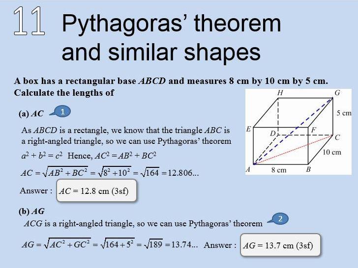 Maths - Pythagoras' theorem  and similar shapes
