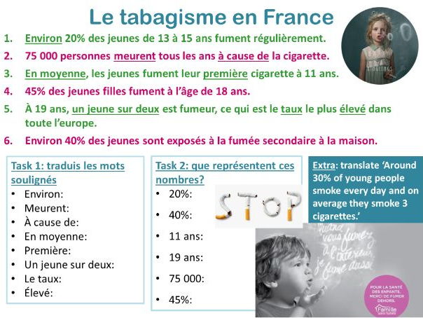 LA DEPENDANCE year 9/GCSE French (addictions, facts about France, authentic French material)