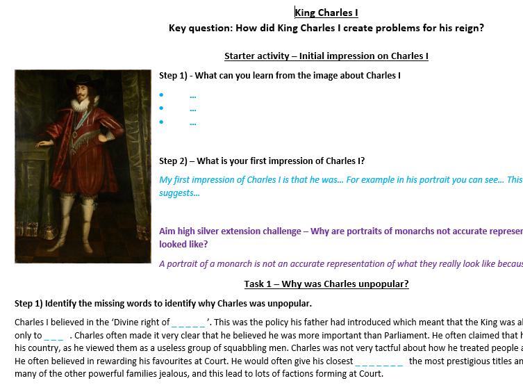 Charles I - Home learning worksheet