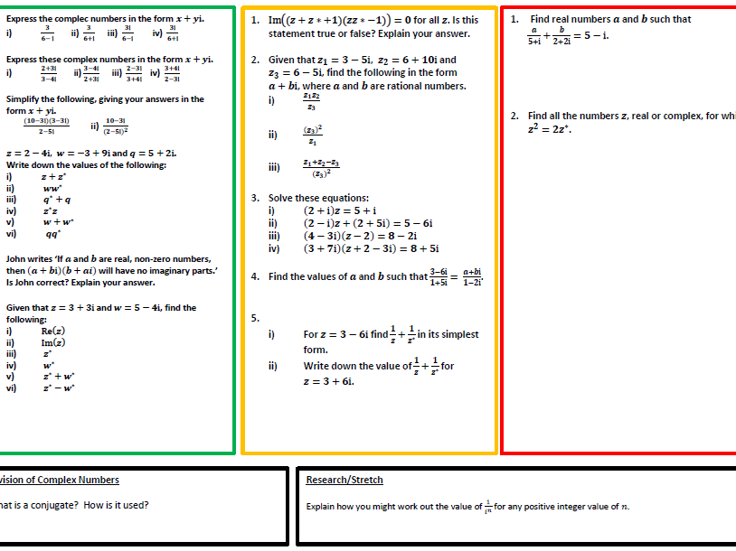 Introduction to Complex Numbers Practice