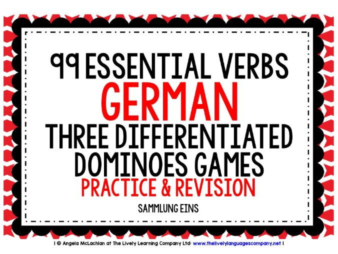 GERMAN VERBS (1) - PRACTICE & REVISION - 3 DIFFERENTIATED DOMINOES GAMES