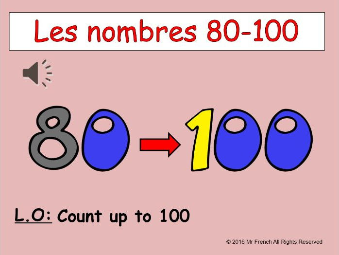 Les nombres 80-100 (French numbers 80-100) 3 lessons! Y5  4th Grade