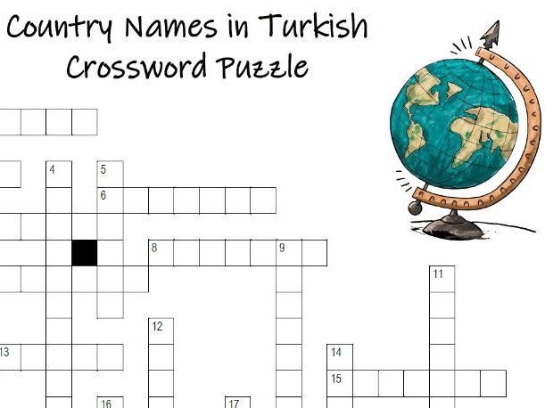 TR Country Names in Turkish Crossword Puzzle