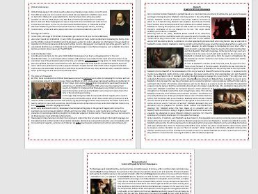 Shakespeare - Plays and Biography Worksheets