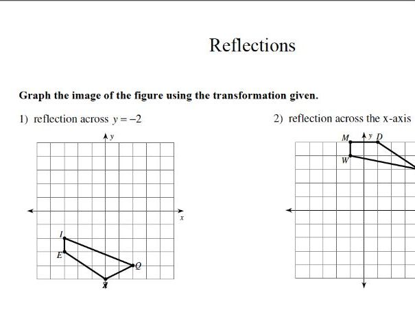 GCSE maths worksheet: translations: reflections
