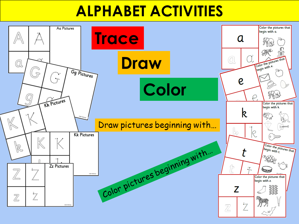 US Version Alphabet Activities: Trace Draw Color Alphabet Activities